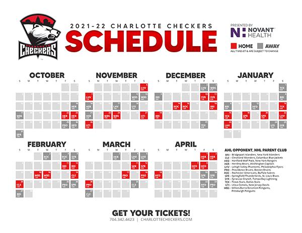 Charlotte Checkers 2021-22 Schedule